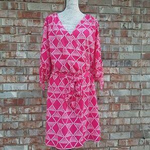 Old Navy Hot Pink Tribal Print XXL Dress with Belt